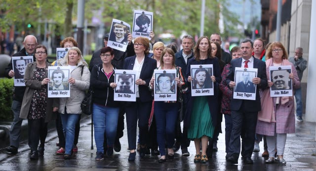 Family members outside the court in Belfast