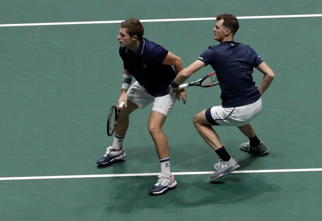 Neal Skupski, left, and his Jamie Murray during their exciting doubles match against Spain
