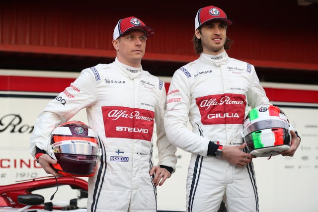 Drivers Kimi Raikkonen (left) has joined Alfa Romeo from Ferrari and will be partnered by Antonio Giovinazzi