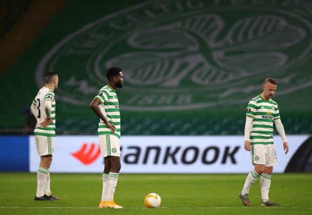 Celtic players appear dejected after Sparta Prague score their fourth goal