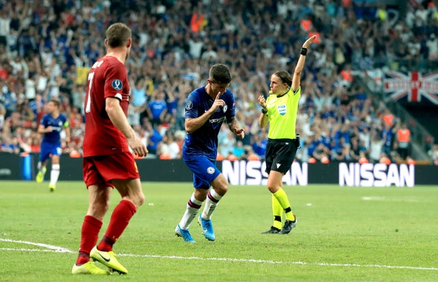 Frappart signals a free-kick after Christian Pulisic's 'goal' was ruled out for offside