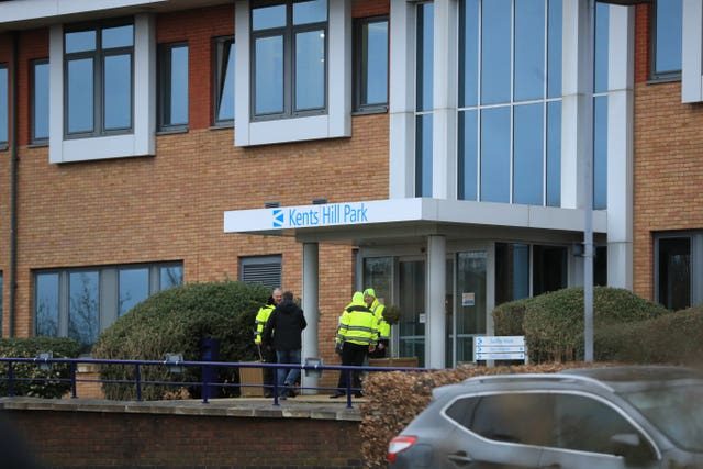 Staff outside Kents Hill Park Training and Conference Centre in Milton Keynes