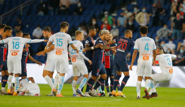 Players from both sides were involved in the brawl which overshadowed Marseille's win at Paris St Germain