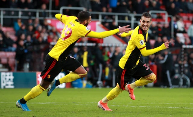 Watford's Roberto Pereyra scores in the 92nd minute to seal his side's 3-0 victory over Bournemouth