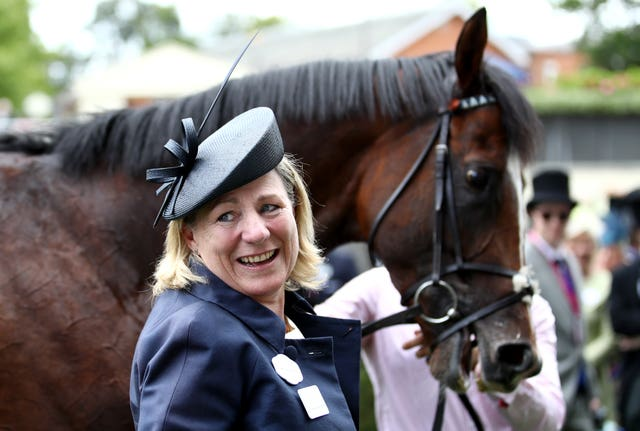 Eve Johnson Houghton celebrates with Accidental Agent after his Royal Ascot win