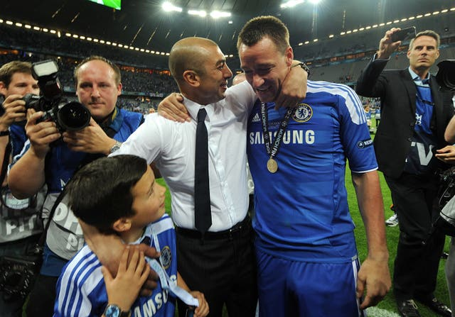 Terry was suspended for the final but donned his Chelsea strip for the celebrations