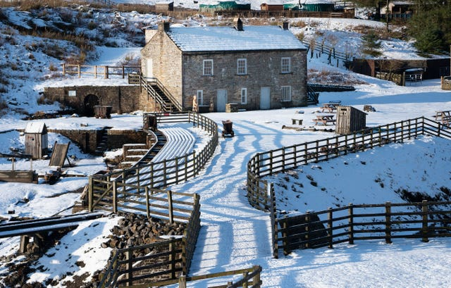 The snow-covered Kilhope slate mine