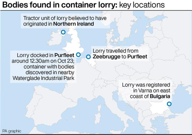 Graphic of bodies found in container lorry