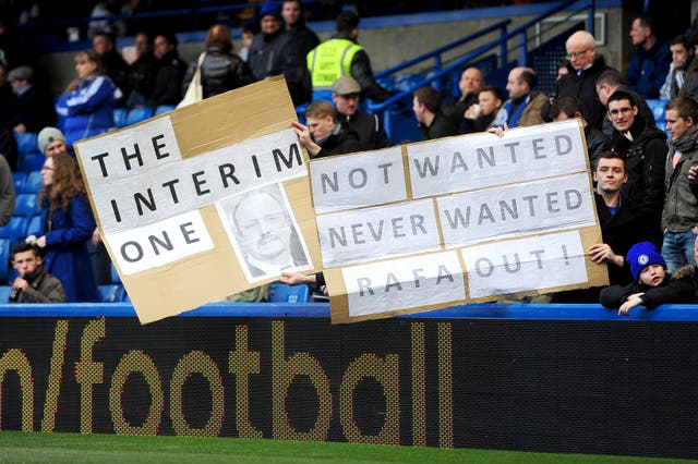 Chelsea fans were not welcoming of Benitez as their manager