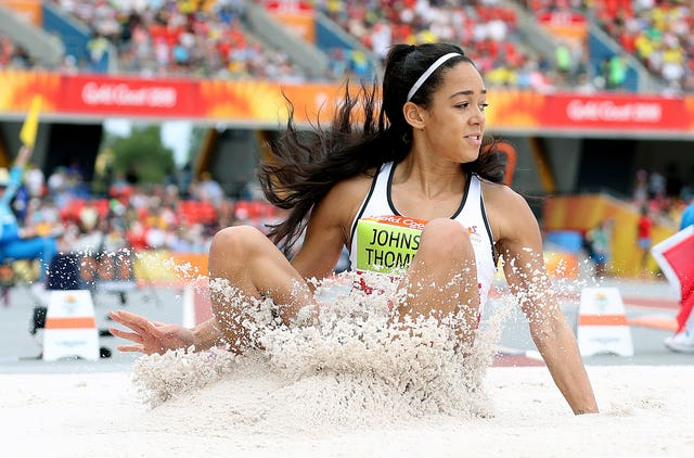 England's Katarina Johnson-Thompson extends her heptathlon lead in the long jump