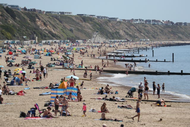 A busy Boscombe beach