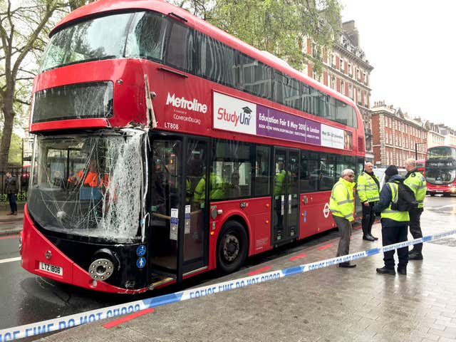 Damage to a bus that was in collision with a lamppost in London