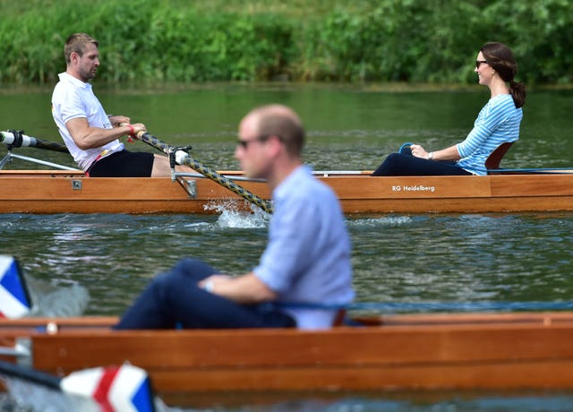 The Duke and Duchess of Cambridge cox rival boats in a race in Heidelbert between the German town and its British twin Cambridge. Bruce Adams/Daily Mail
