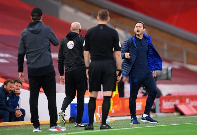 Chelsea manager Frank Lampard argued with Liverpool manager Jurgen Klopp and his backroom staff at Anfield