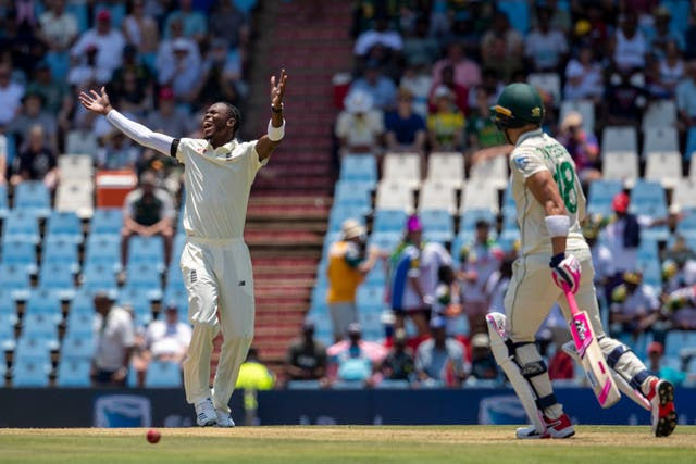 Jofra Archer, left, was fortunate not to be removed from the attack