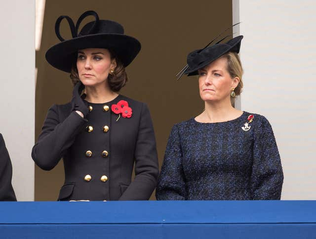 The Duchess of Cambridge and the Countess of Wessex during the annual Remembrance Sunday Service (Dominic Lipinksi/PA)