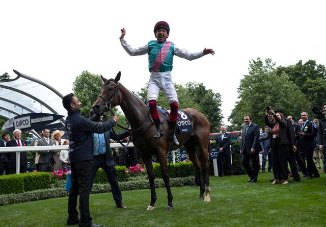 Frankie Dettori celebrates after winning The King George VI & Queen Elizabeth QIPCO Stakes on Enable at Ascot