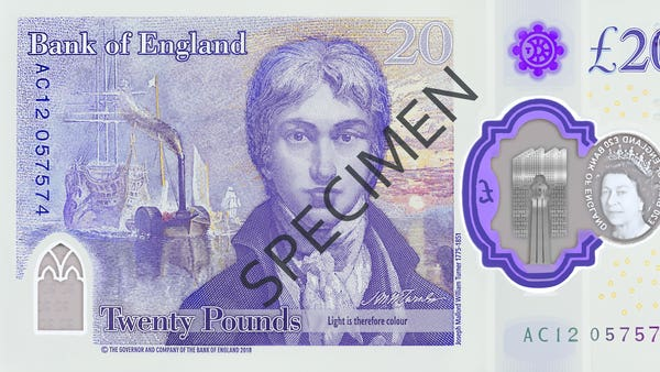 Design of new £20 note featuring JMW Turner unveiled by Bank of England