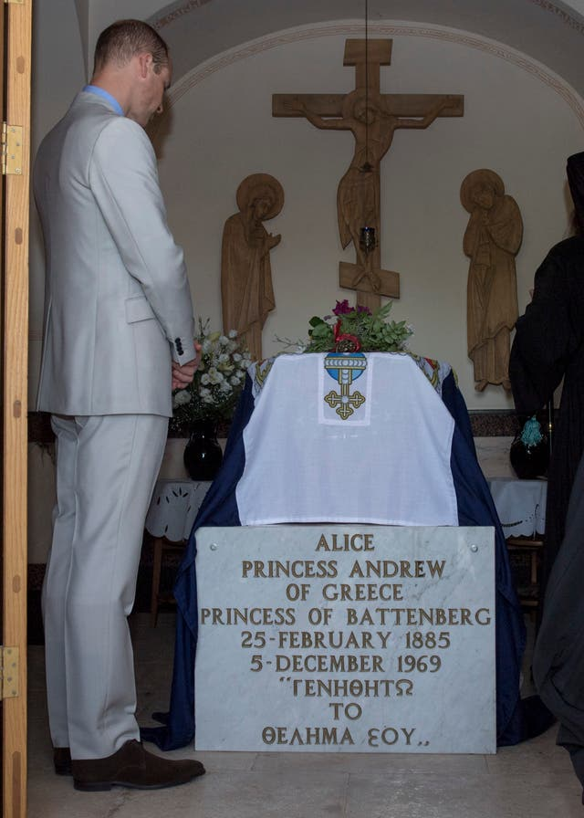 His Royal Highness Prince William traveled to the Church of St Mary Magdalene where he paid his respects at the tomb of his great-grandmother, Princess Alice. Both The Duke of Edinburgh and The Prince of Wales have made previous visits here Picture Arthur Edwards