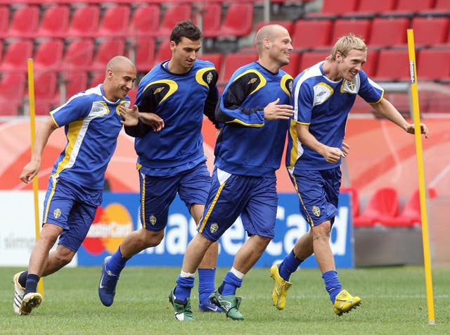 Ljungberg won Sweden's player of the year award in 2006 before compatriot Zlatan Ibrahimovic (second left) took the gong for the next decade.
