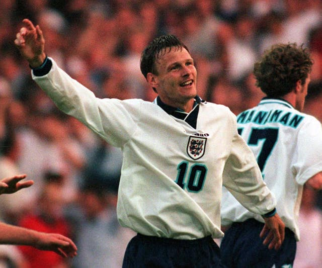 Teddy Sheringham, as well as Shearer, scored twice in the 4-1 win at Wembley.
