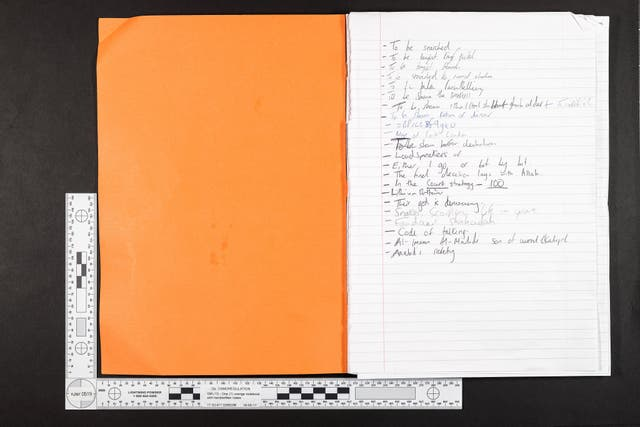 A notebook recovered from Haque's home (Metropolitan Police)