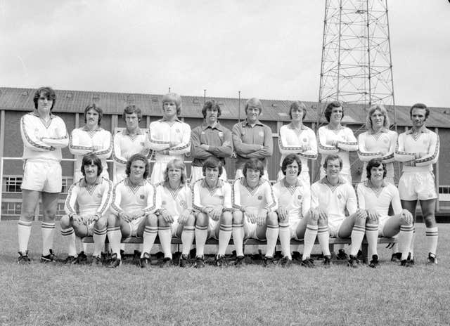Leeds squad, including Trevor Cherry (back row, third from left) ahead of the 1977-78 season