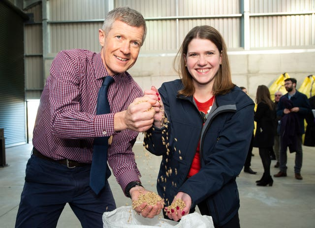 Liberal Democrat leader Jo Swinson joined Willie Rennie, leader of the party in Scotland, during a visit to Crafty Maltsters at Demperston Farm, Auctermuchty
