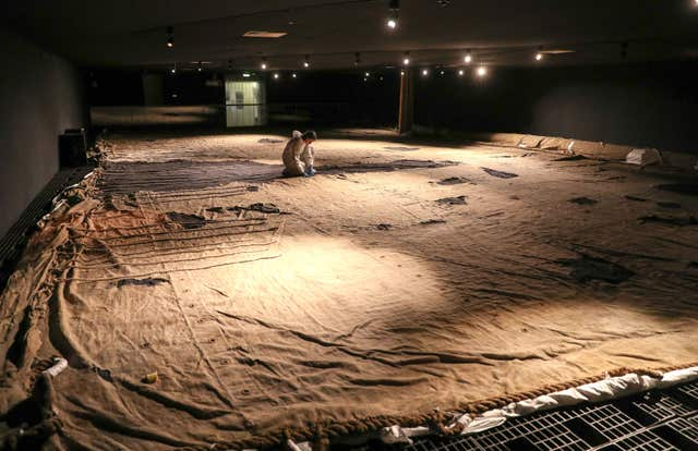 The sail laid out at the National Museum of the Royal Navy