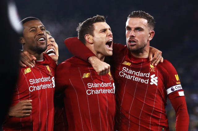 James Milner (centre) scored from the penalty spot with his first touch after coming on