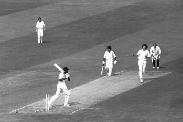 Guyanan Clive Lloyd (West Indies) is bowled out by Bob Willis, during a one-day international between England and the West Indies at Headingley