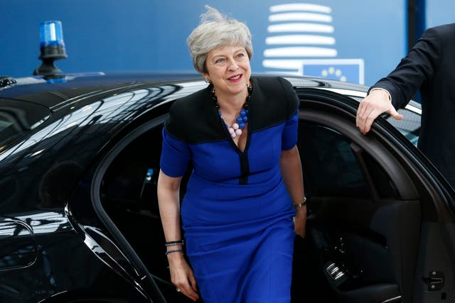Prime Minister Theresa May arrives for the EU summit