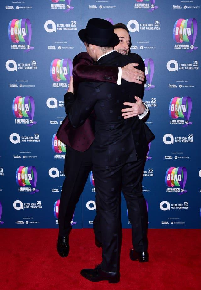 David Furnish and Taron Egerton attending the gala night for Take That's The Band musical