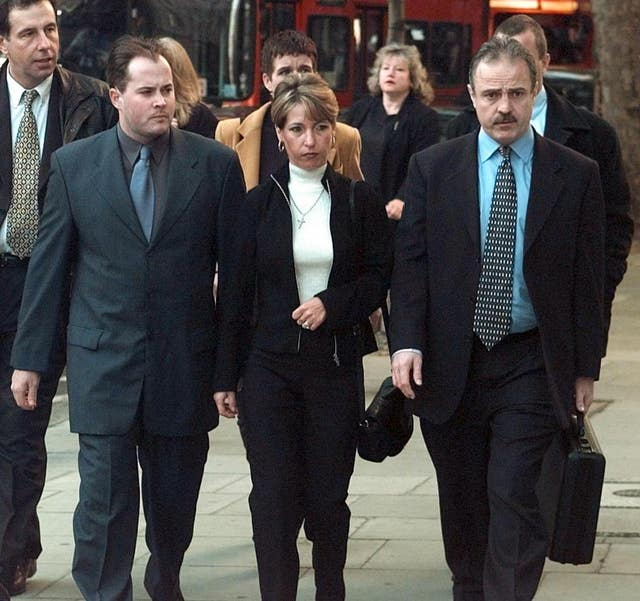 James Bulger's mother, Denise Fergus, arrives with her husband Stuart (left) at the Law Courts, in London, to hear the Lord Chief Justice's ruling on the minimum sentences to be served by Thompson and Venables in October 2000, when they were aged 18 (Peter Jordan/PA)