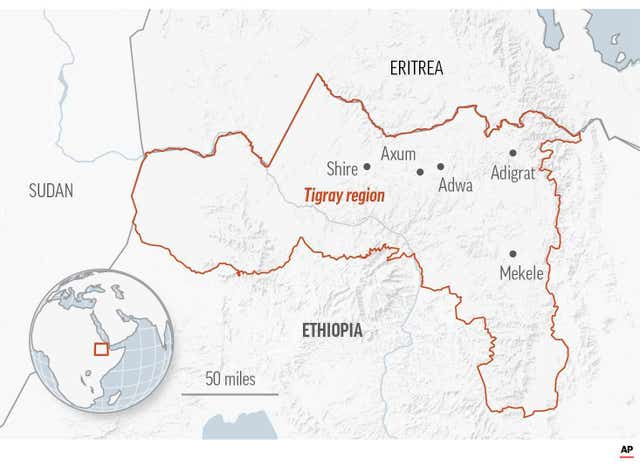 Map of the Tigray region in Ethiopia (AP)