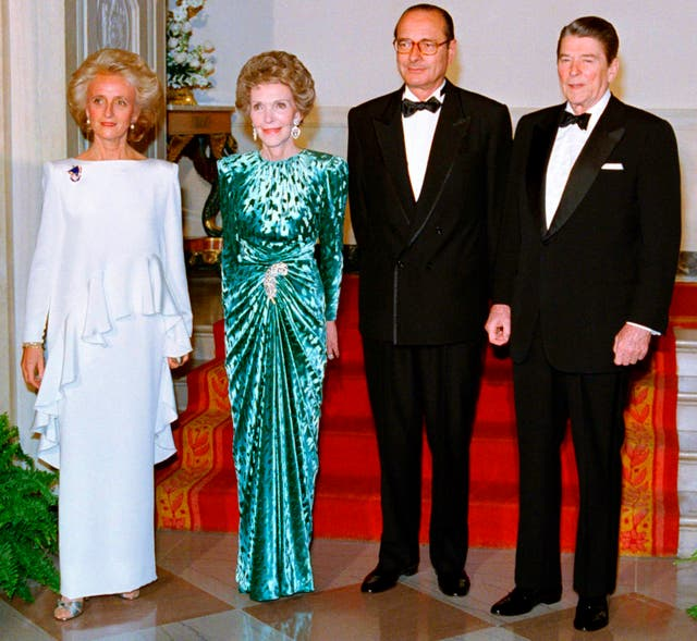 Ronald and Nancy Reagan with Jacques Chirac and his wife Bernadette at the White House in Washington in 1981