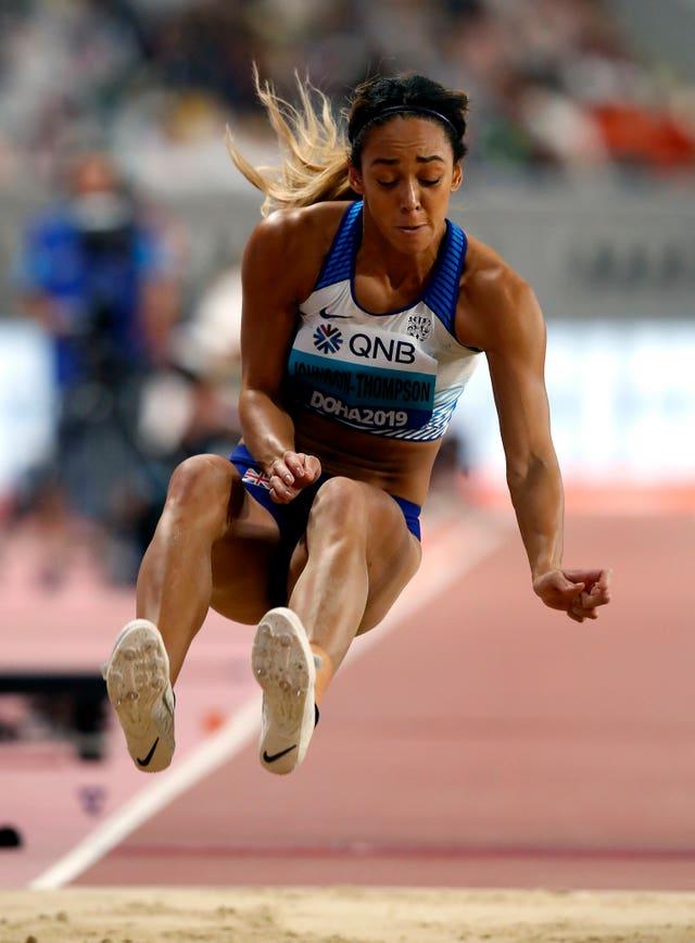 Katarina Johnson-Thompson competes in the heptathlon long jump in Doha