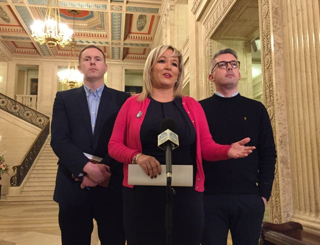 Sinn Fein vice president Michelle O'Neill with party colleagues speaking to the media after they held talks with Ireland's deputy premier Simon Coveney at Stormont, Belfast