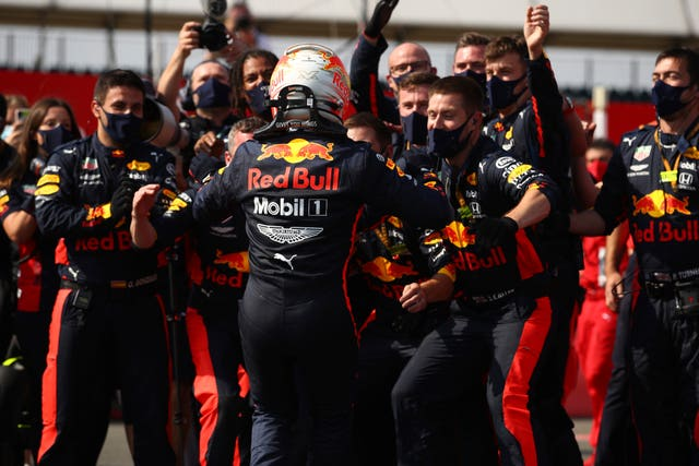 Max Verstappen celebrates with his Red Bull team