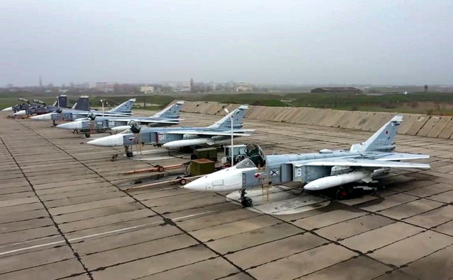 Russian Su-24 bombers parked at an air base in Crimea in preparation for manoeuvres