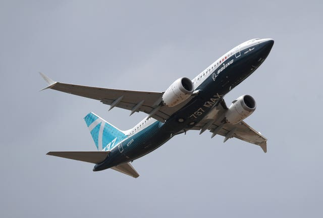 A Boeing 737 Max  at the Farnborough International Airshow (Andrew Matthews/AP)