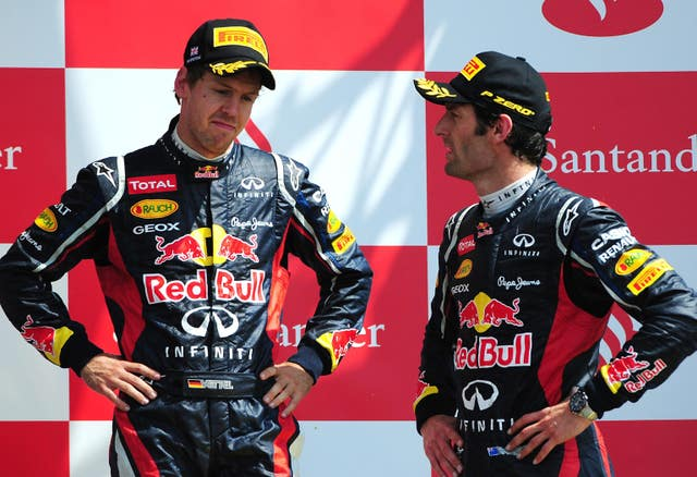 Mark Webber, right, believes his former Red Bull team-mate would benefit from a year away from F1 (Rui Vieira/PA)
