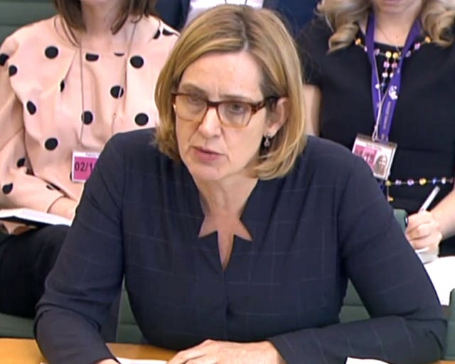 Amber Rudd resigned after mistakenly telling the Home Affairs Committee there were no targets for removing migrants (PA)
