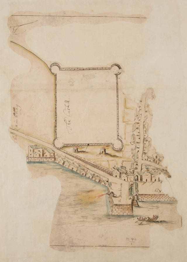A plan of Plymouth's Barbican in the early 1600s