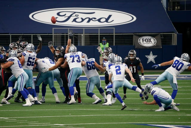 Dallas Cowboys kicker Greg Zuerlein, number two, kept his nerve against the Atlanta Falcons