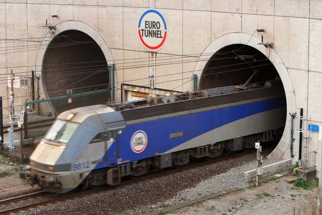 A train leaves the Euro Tunnel at Coquelles in France.