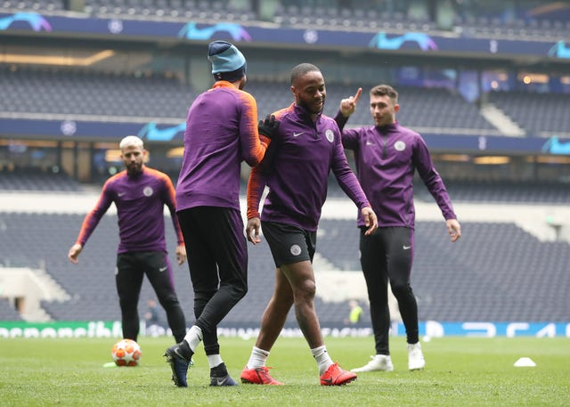 Manchester City trained on the Tottenham Hotspur Stadium pitch on Monday