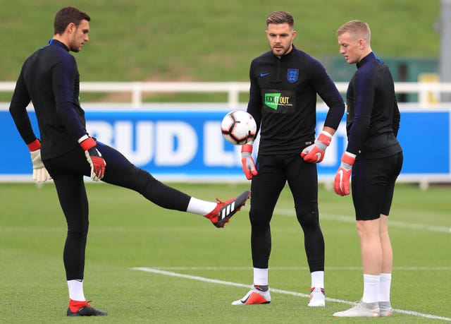 England goalkeepers Alex McCarthy (left), Jack Butland and Jordan Pickford (right) have played every minute for their respective clubs this season.