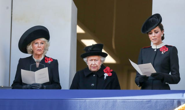 The Duchess of Cornwall, Queen Elizabeth II and the Duchess of Cambridge during the remembrance service at the Cenotaph memorial in Whitehall (Andrew Matthews/PA)