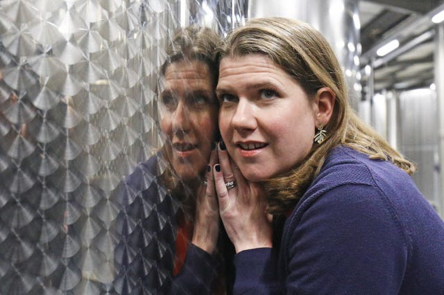 Liberal Democrat leader Jo Swinson during a visit to Dunkertons Cider Company, an organic and plastic-free brewery in Cheltenham